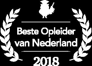 Creatie Nest Stefan Hensen Beste Opleider en Trainer van Nederland 2018 Logo - wit