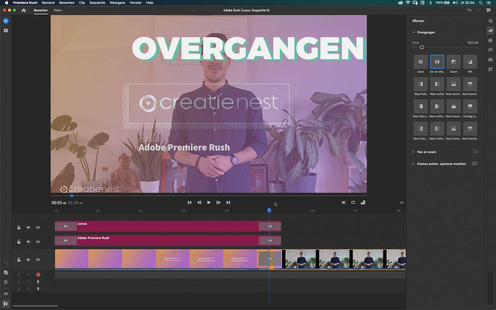 cursus Adobe Premiere Rush videobewerking overgangen