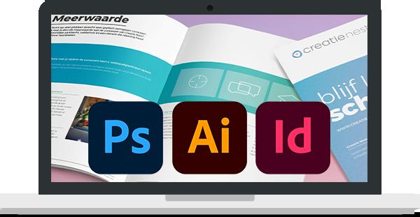Laptop illustratie met logo's van Adobe (Photoshop, Illustrator en InDesign)