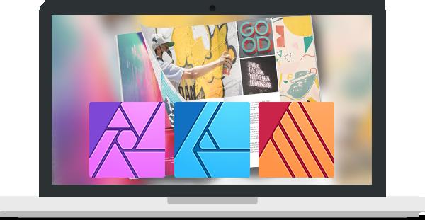Laptop illustratie met logo's van Affinity (Photo, Designer en Publisher)